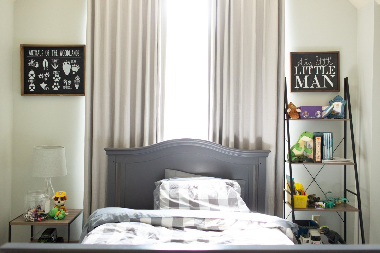 Benjamin Moore Gray Owl review in real bedroom.