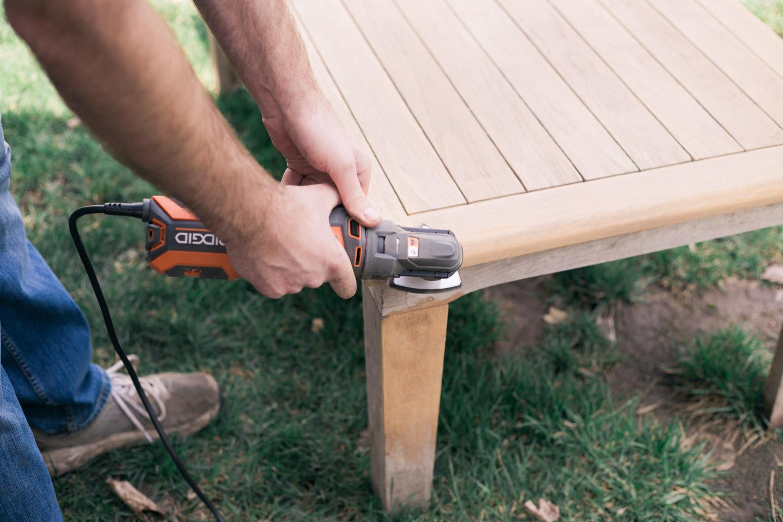 restoring teak furniture, teak patio set sanding corners
