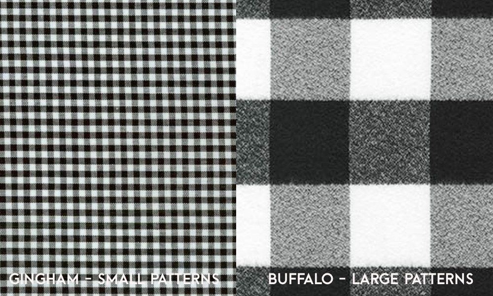 image comparing gingam and buffalo check side by side