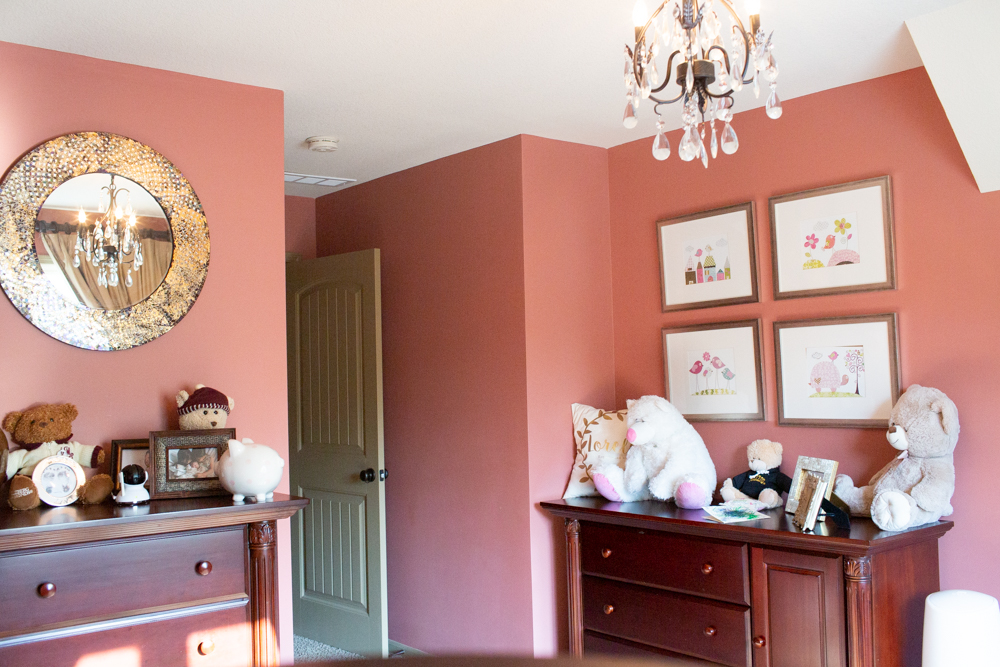 pink paint color with greige color trim