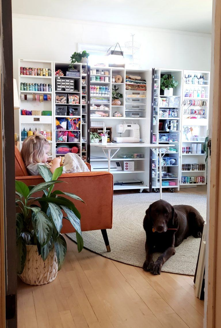 craft room wall box organization