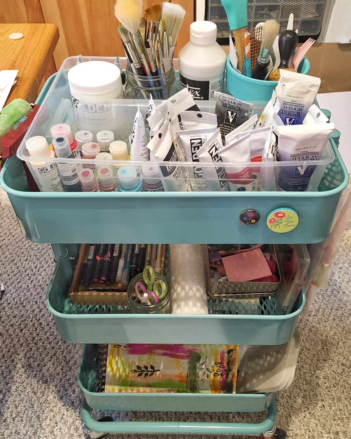 ikea rolling cart for craft storage