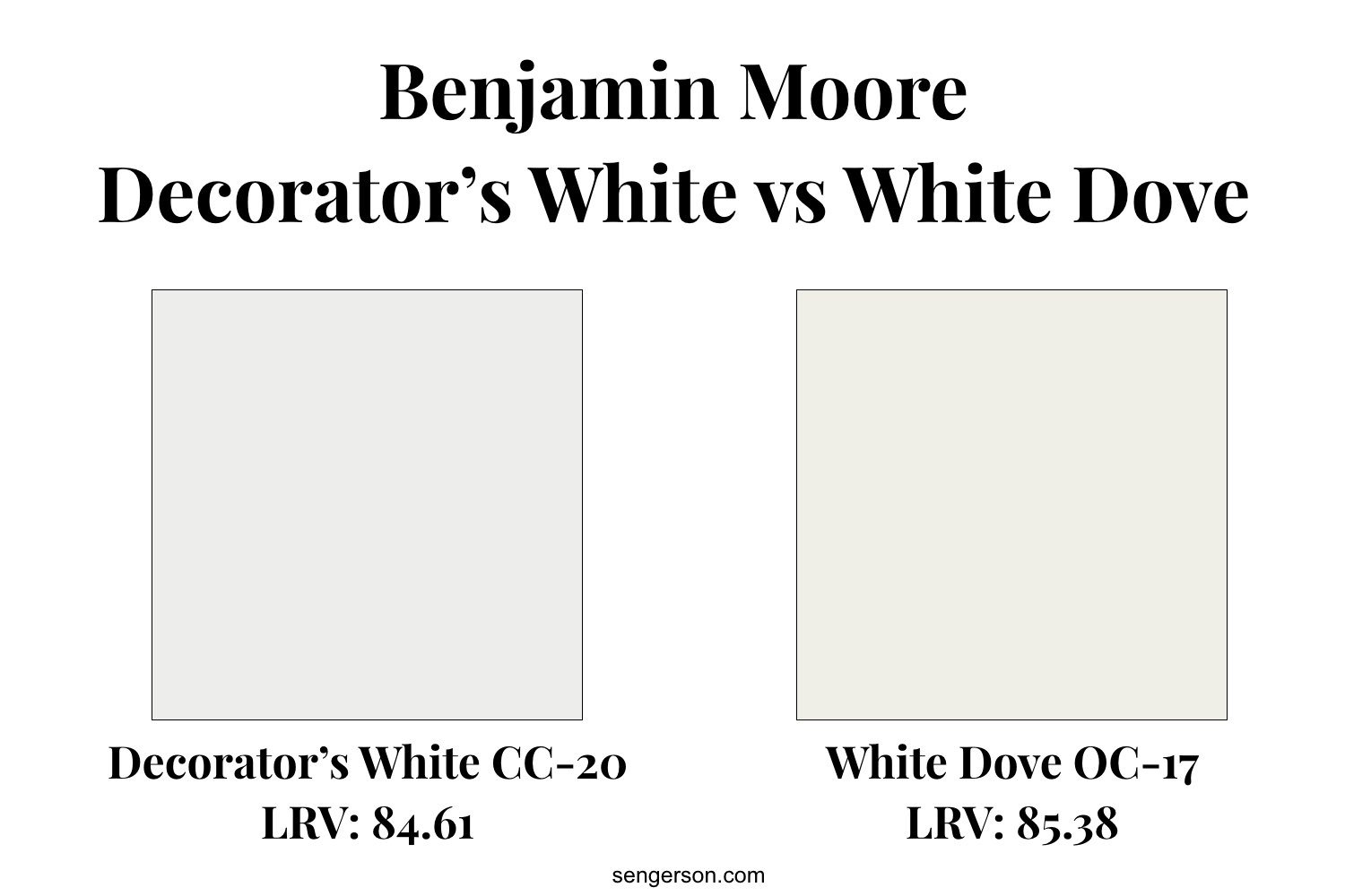 decorators white versus white dove paint color