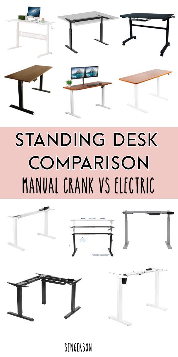 standing desk comparison hand crank motor and electric standing desk