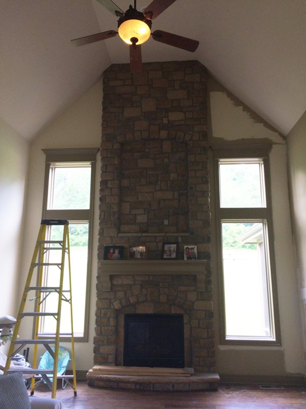 Two Story Living Room Curtain Fireplace