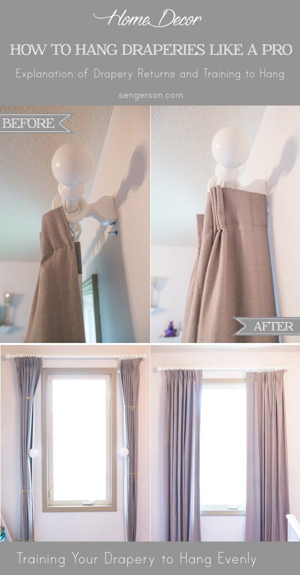 tips on how to hang your draperies like a pro - Drapery hanging tips with correct way to hang curtain ideas with pictures. By using curtain side hooks, it allows drapes to hang and look like they were professionally done. This tutorial shows you how to drape curtains with proper curtain lengths, including what traverse drapes look like. | how to hang drapery properly featuted by top US lifestyle blog, Serngerson