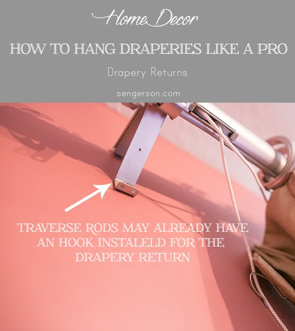drapery returns for traverse rod - Drapery hanging tips with correct way to hang curtain ideas with pictures. By using curtain side hooks, it allows drapes to hang and look like they were professionally done. This tutorial shows you how to drape curtains with proper curtain lengths, including what traverse drapes look like. | how to hang drapery properly featuted by top US lifestyle blog, Serngerson