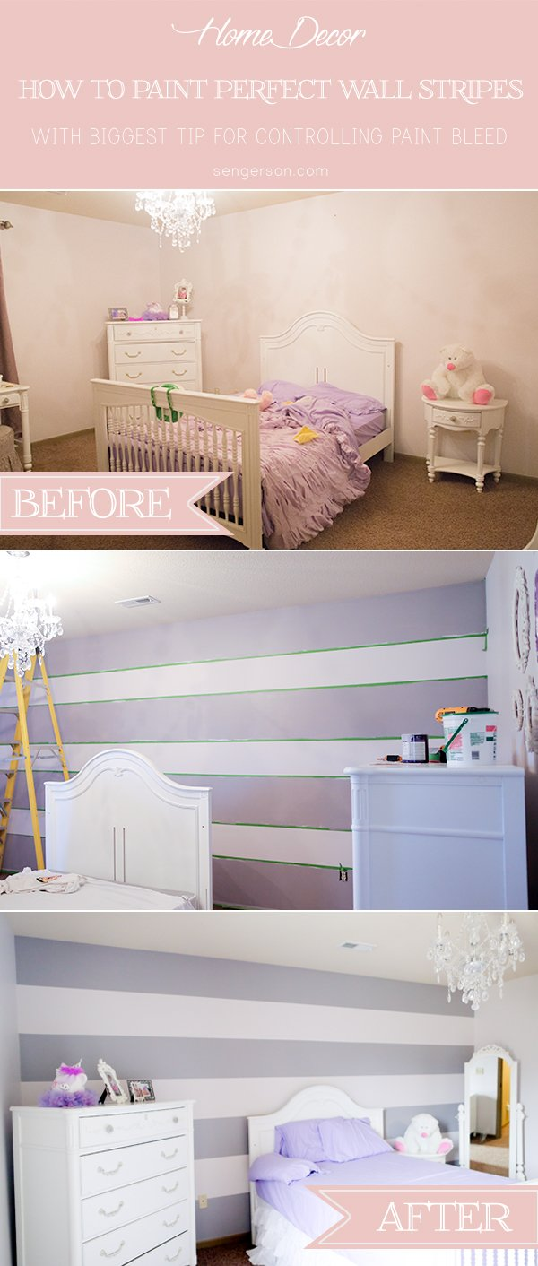 paint wall stripes: 4 tips for perfectly straight wall stripes from sengerson.com with tips on controlling paint bleed