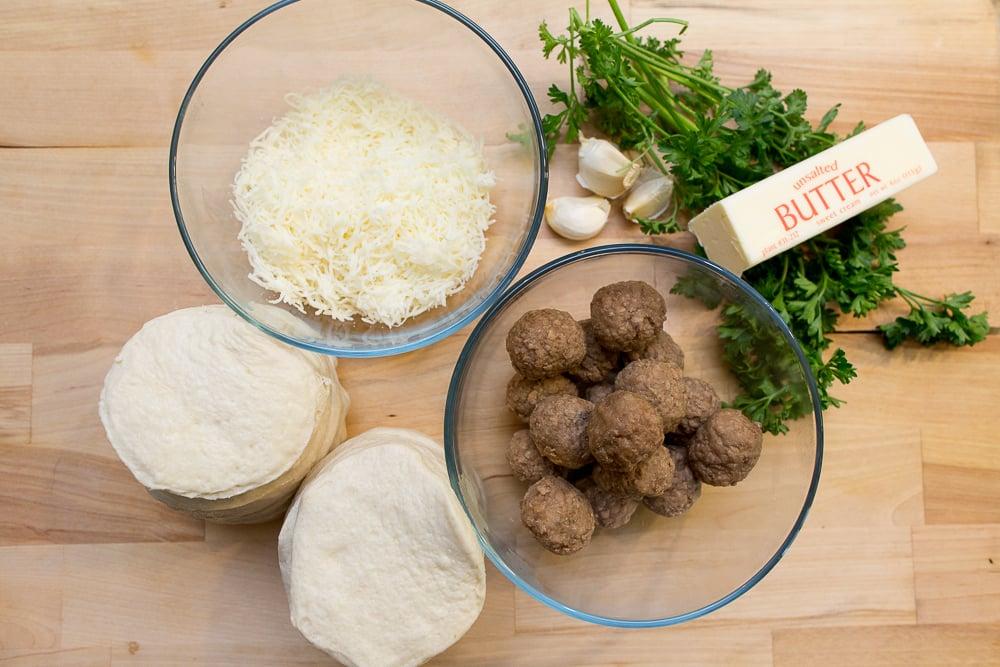 garlic parmesean biscuits with meatballs