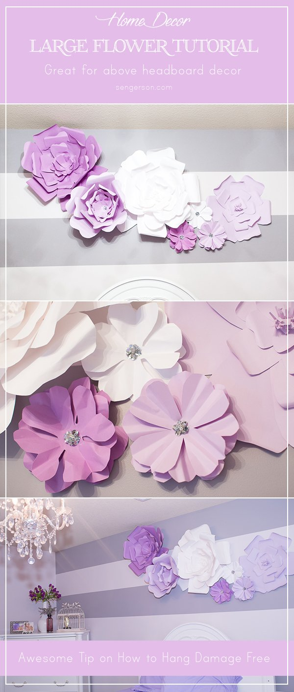 DIY Large Flower Bloom Above Headboard | DIY Large Paper Flowers tutorial featured by top US lifestyle blogger, Sengerson