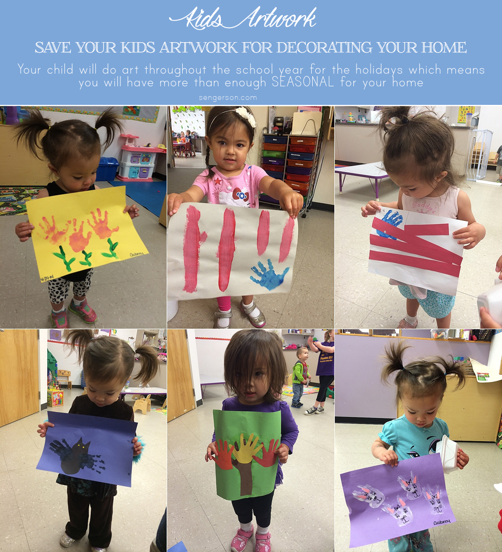 Use Kids Art to Decorate Your Home (with Tips on How to Organize) - daycare and preschool always do art based on celebrations and holidays. Why not save them and use them to decorate the house and incorporate in a subtle way with all the other decor! Great conversation starters.
