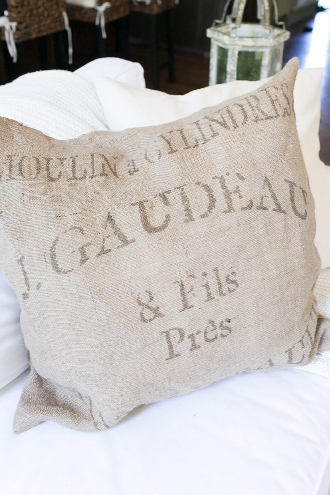 farmhouse style grain sack pillows burlap
