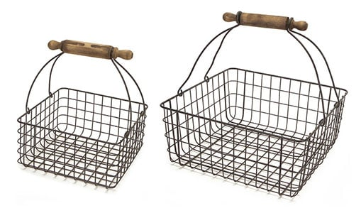 wire basket with handle farmhouse style