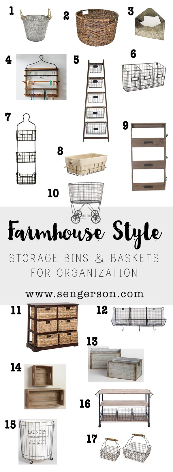 farmhouse style storage and organization home decor products