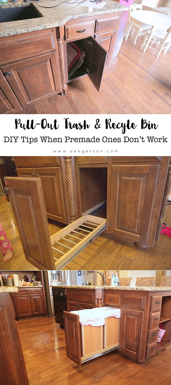 DIY pull out trash can and bin with sliding doors with original cabinets