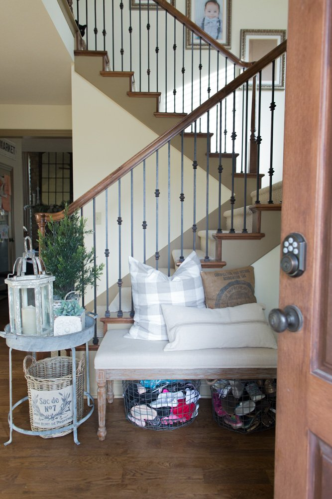 functional farmhouse entryway when you have kids and tons of shoes!