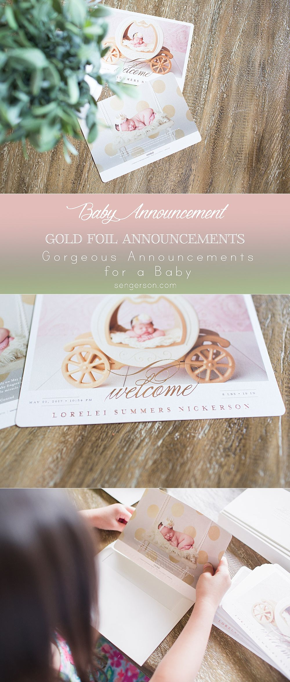Gorgeous gold foil birth announcements. The company will print our recipient address for free as well as your return address for an additional cost. @Minted