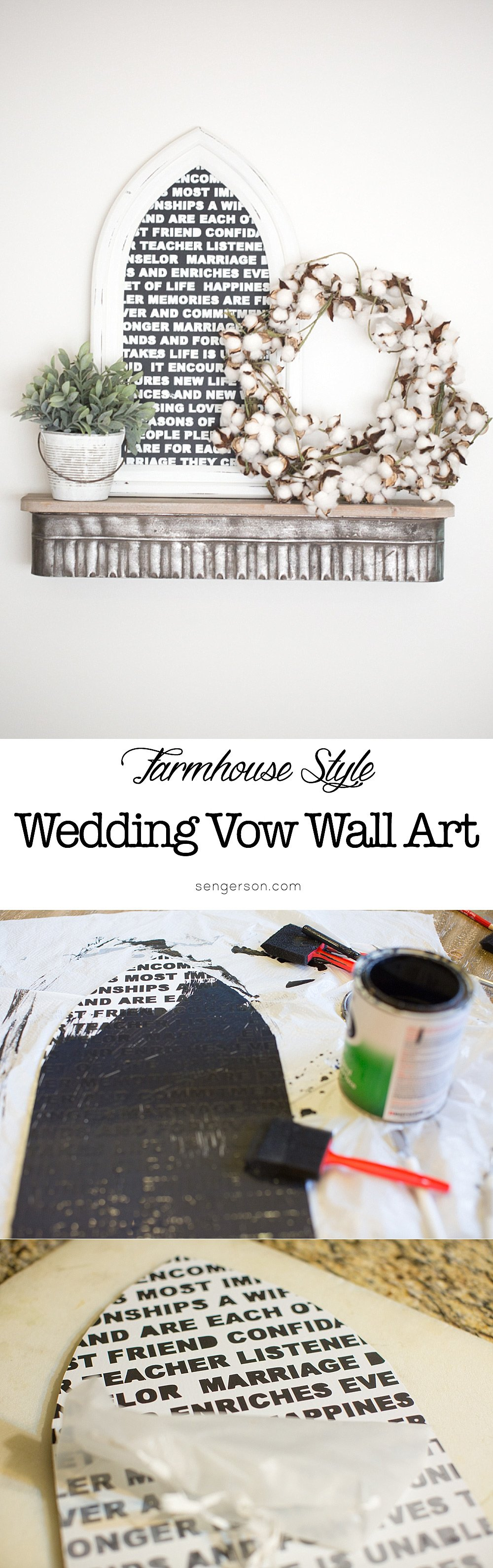 An easy project to do to display your vows - love the farmhouse style look of this! This is a project you could do pretty easily just within 2 hours across 2 days with material you already have - using an upcycled frame and plywood.