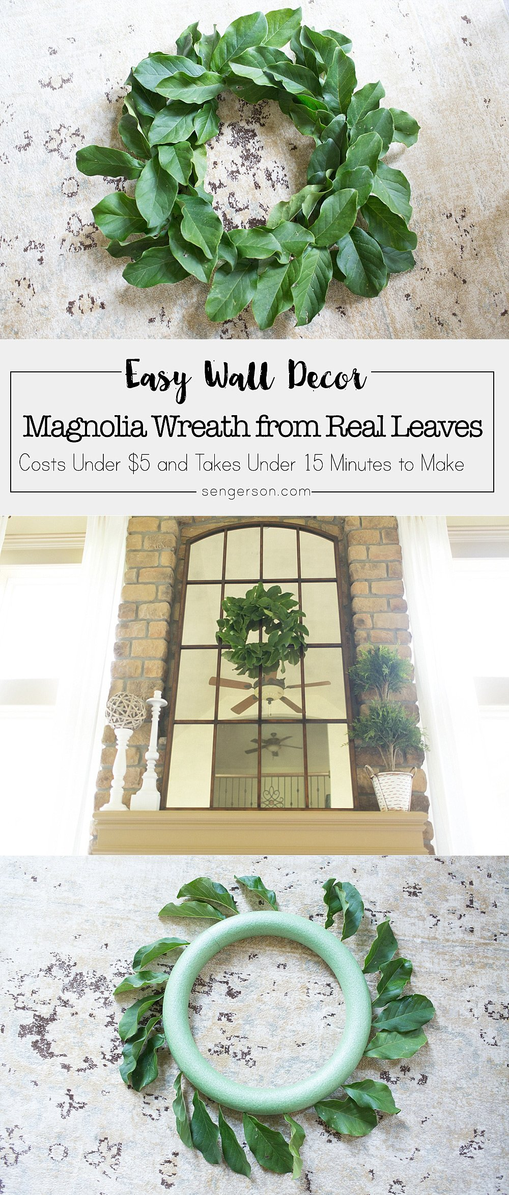 Easy tutorial for magnolia wreath DIY that anyone can do! It's cheaper than buying them premade so that you can get that Fixer Upper style you've always wanted!