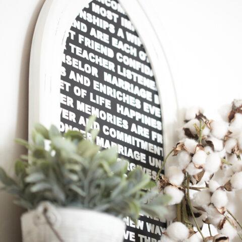 DIY Wedding Vow Art Decor