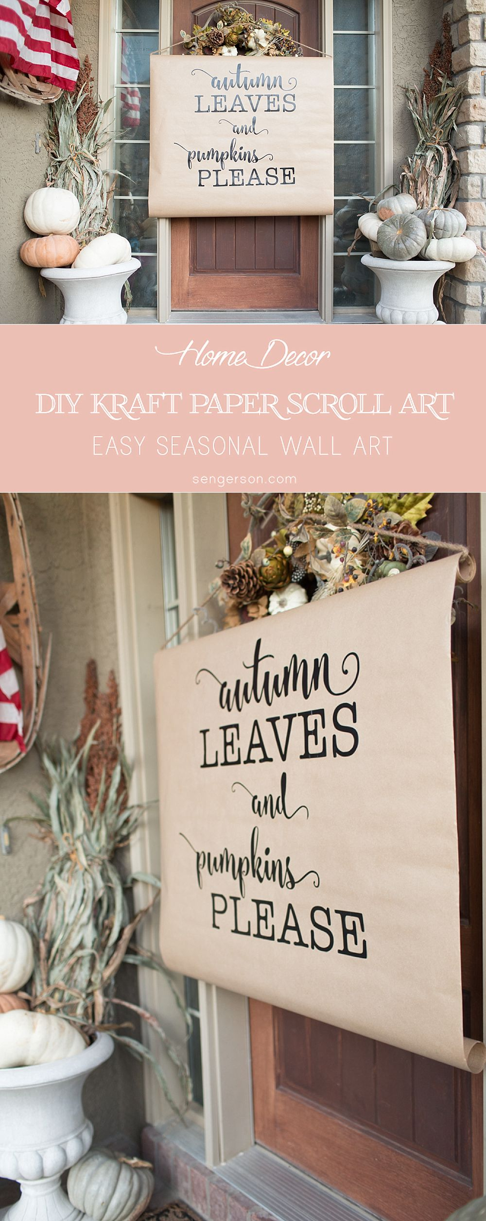 DIY kraft paper scroll art farmhouse style. Super cute and easy to make!