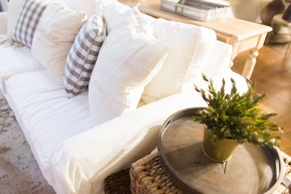 These are all the reasons why I chose a white slipcover couch for our family with kids. This is the best sofa for kids because you take take off the slipcover and wash them in your washer!