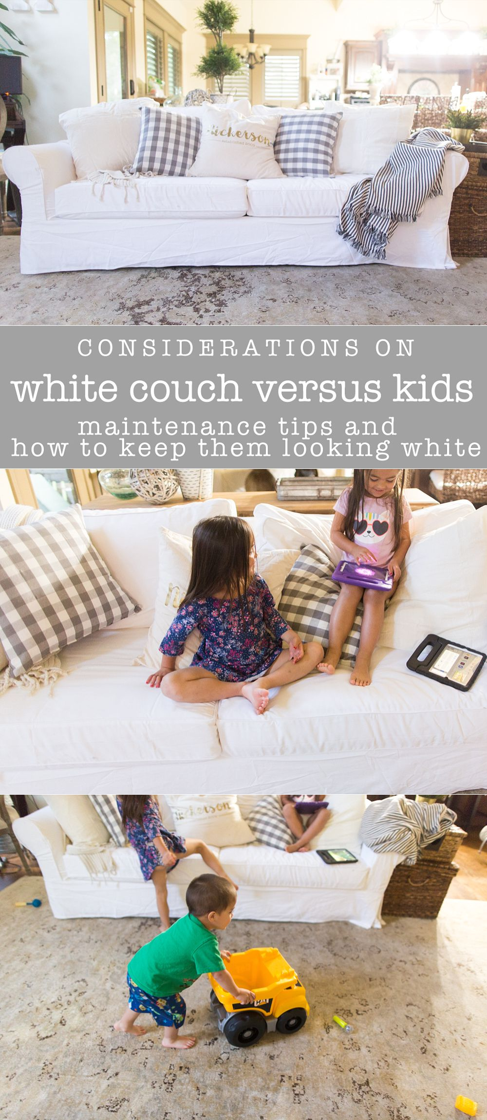 How to choose whether or not to get a white sofa (slipcovered sofa) for kids. #sofa #whitesofa #clean #whitecouch