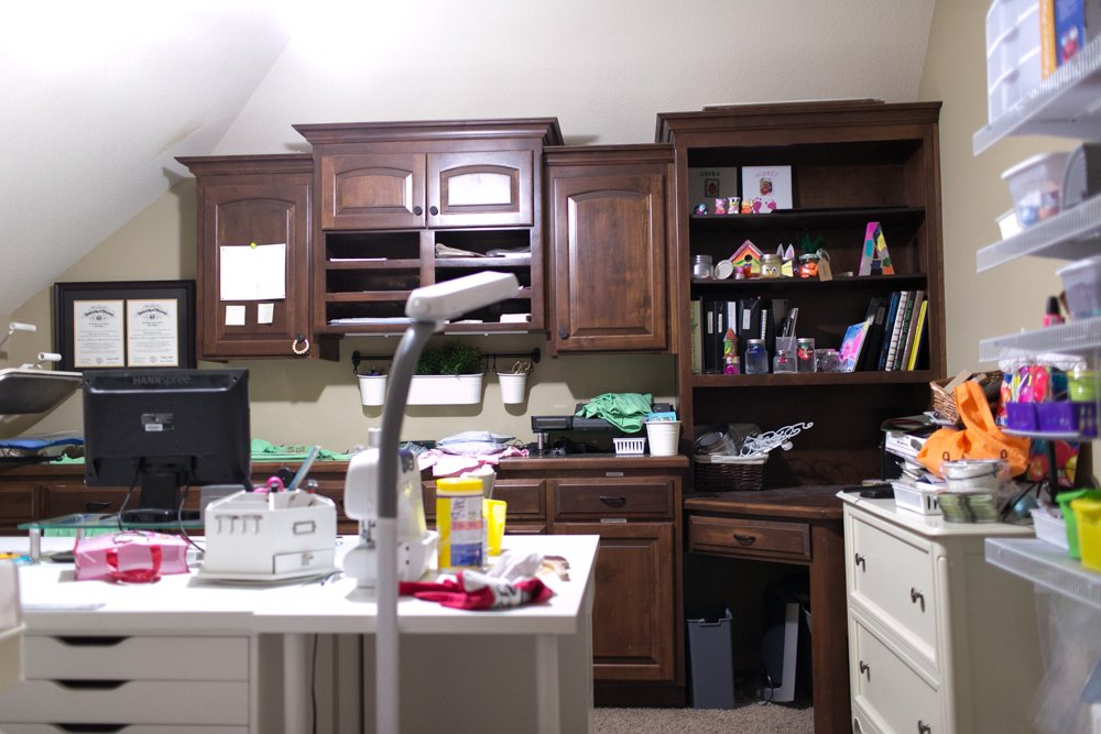 craft room cabinets before
