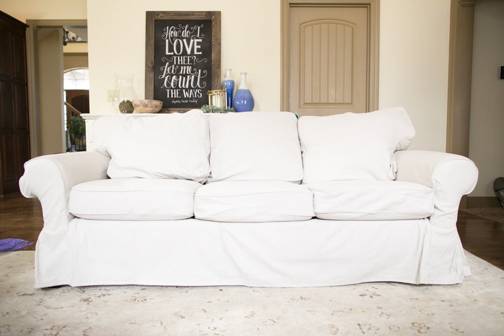Ektorp Sofa Cover on a Pottery Barn Basic Sofa featured by top US lifestyle blogger, Sengerson