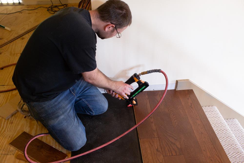 diy wood flooring nailing the wood