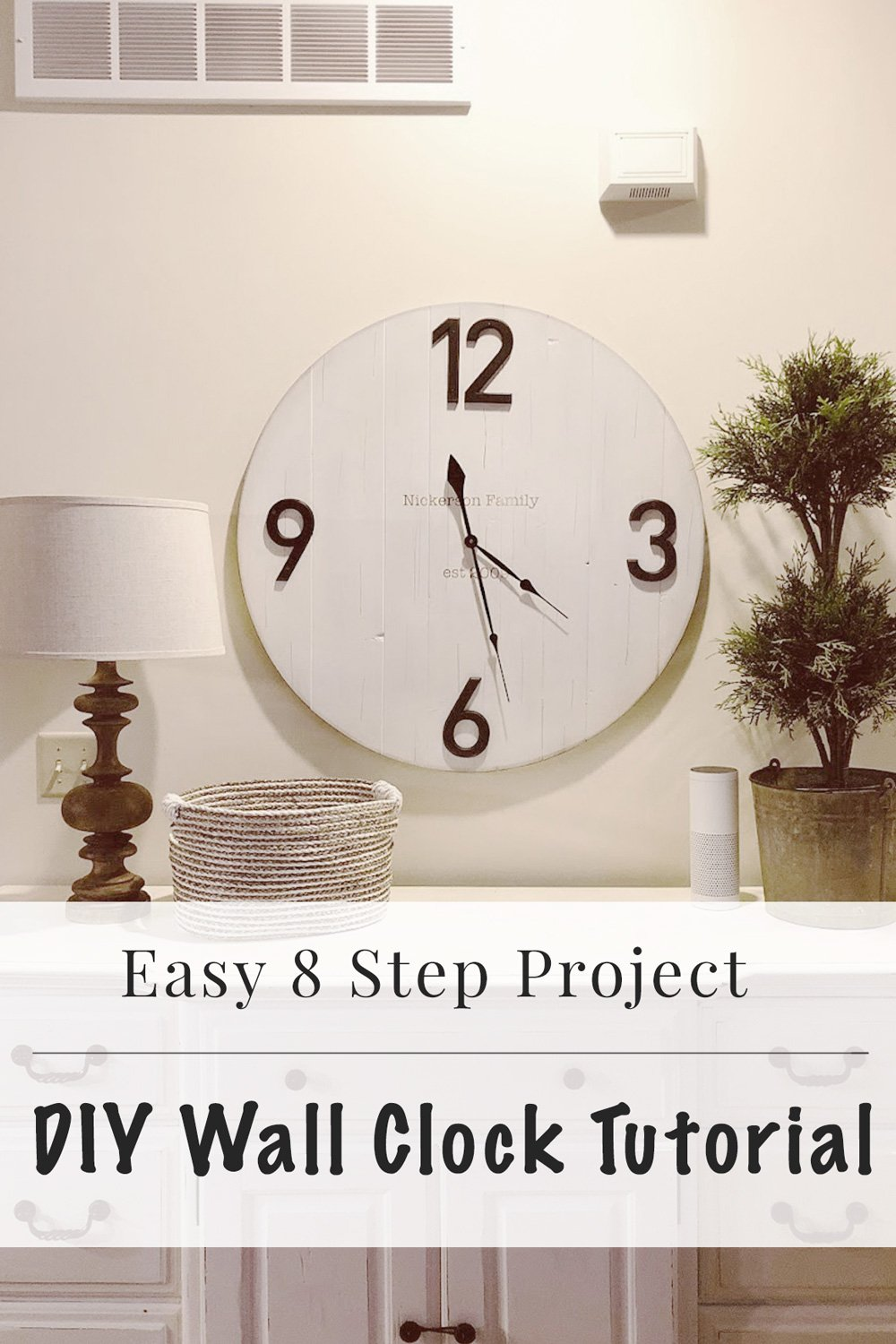 How to Make a DIY Wall Clock in 8 Easy Steps. This tutorial is so easy and with very few materials, you can make it over a few hours! It gives you that fixer upper style and relaxed cottage style for your space.