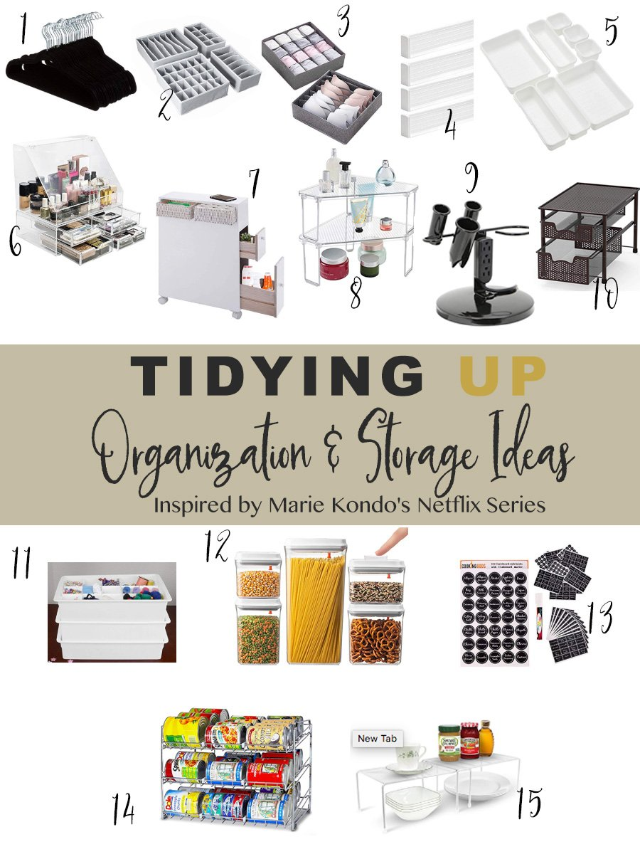 Tidying Up and Tidy cleaning with the marie kondo netflix series inspired ideas.