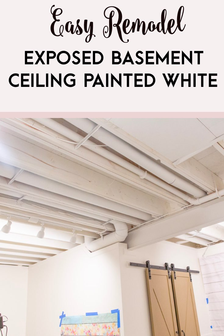 exposed basement ceiling painted white