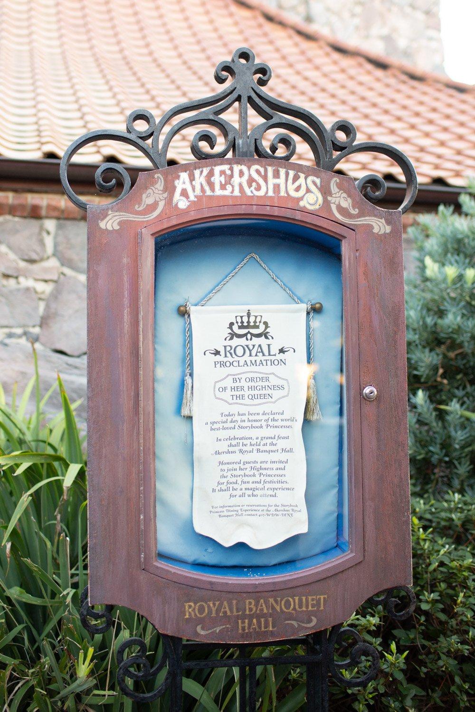 Disney restaurant review at Akershus Sign Photo