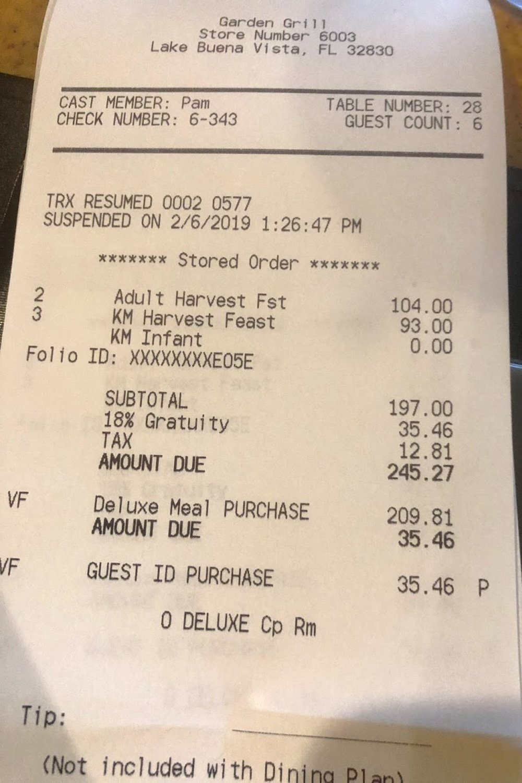 Disney restaurant review at Garden Grill Receipt photo