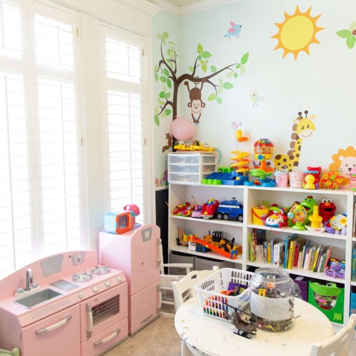 kids playroom wall and mural