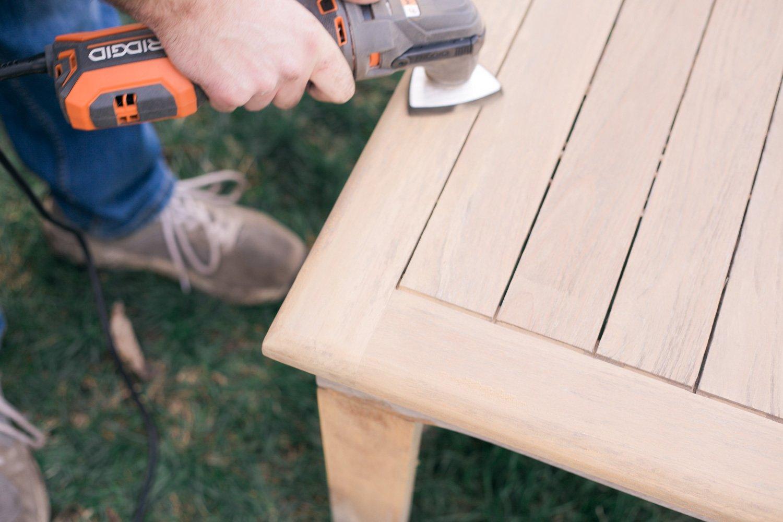 restoring teak furniture, teak patio set using oscillating tool