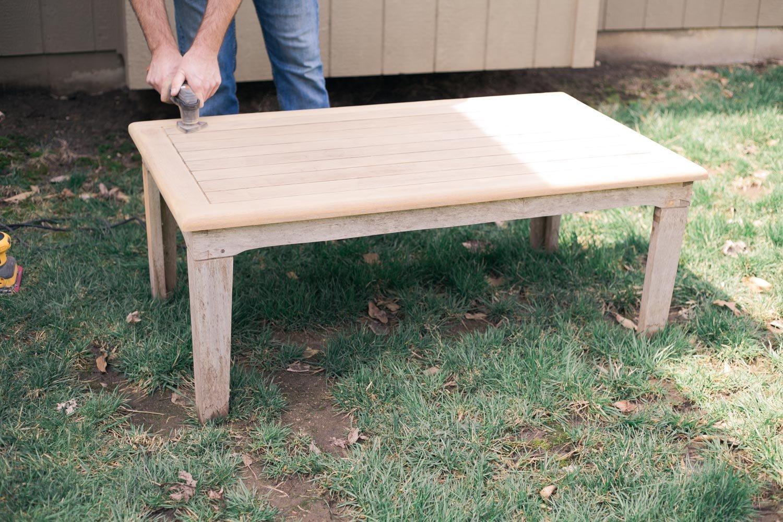 restoring teak furniture, teak patio set sanding