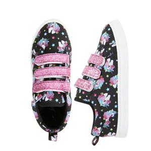 unicorn velcro sneakers black pink glitter