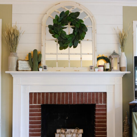 shiplap fireplace with accent wall after