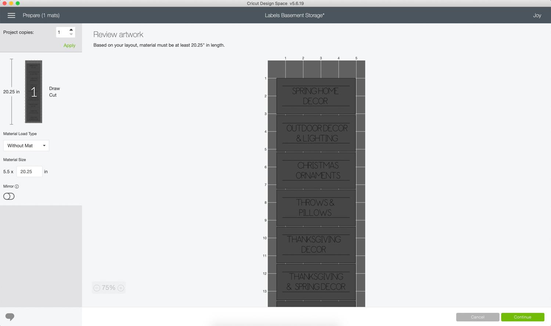 cricut joy design space for making pantry labels