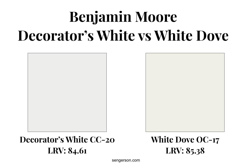 decorators white versus white dove paint color