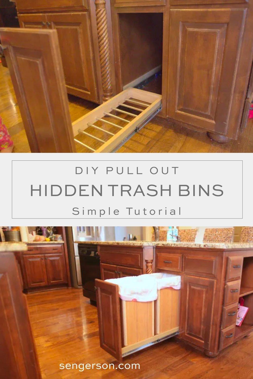 diy hidden trash can slide out