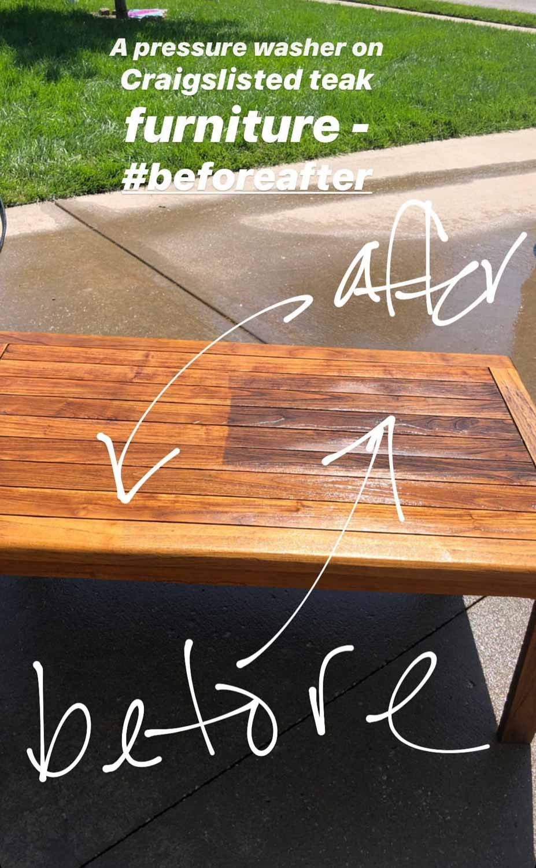 pressure washing teak outdoor furniture