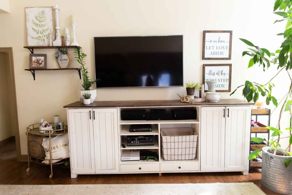 farmhouse style decor with television