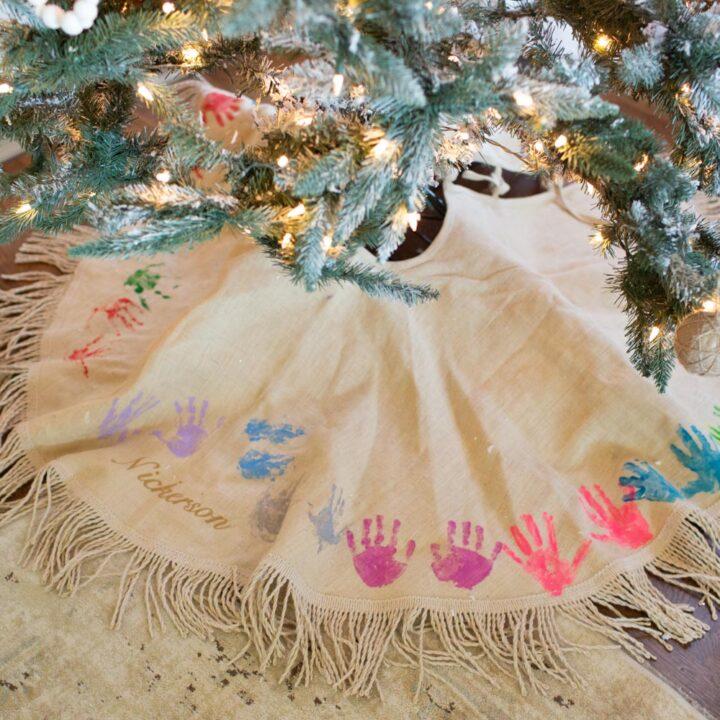 Christmas Tree Skirt with Handprints
