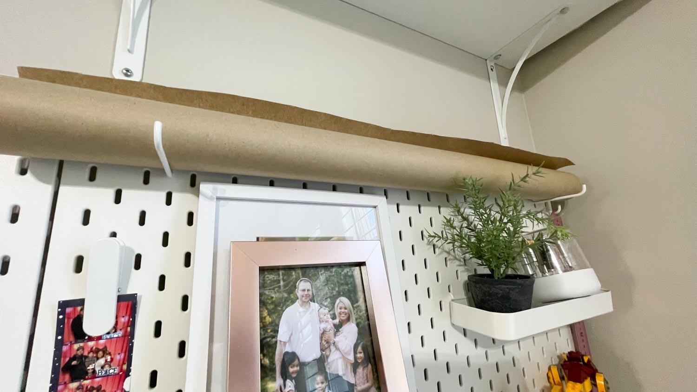 pegboard paper roller holder