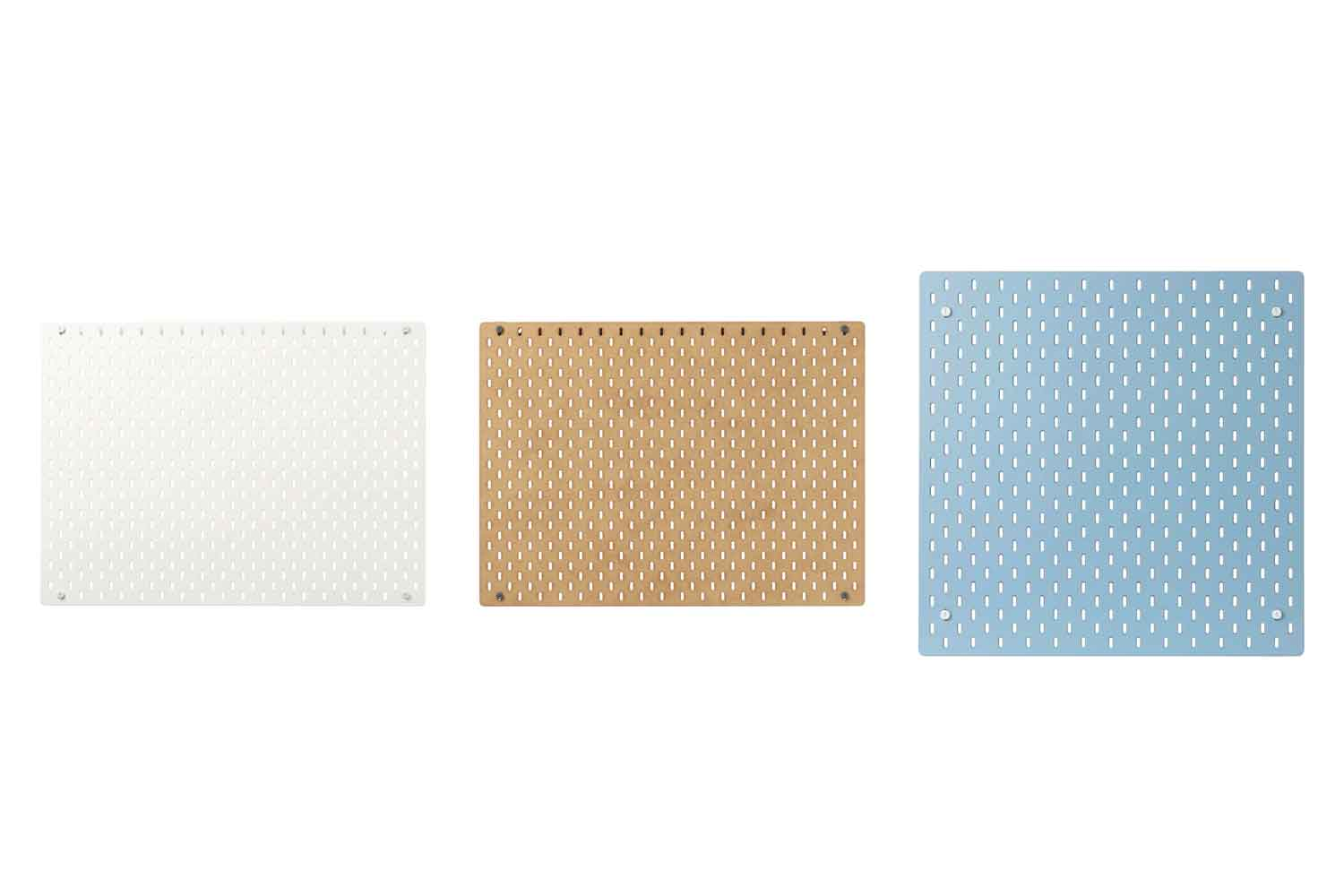 skadis board options in white, brown, and blue