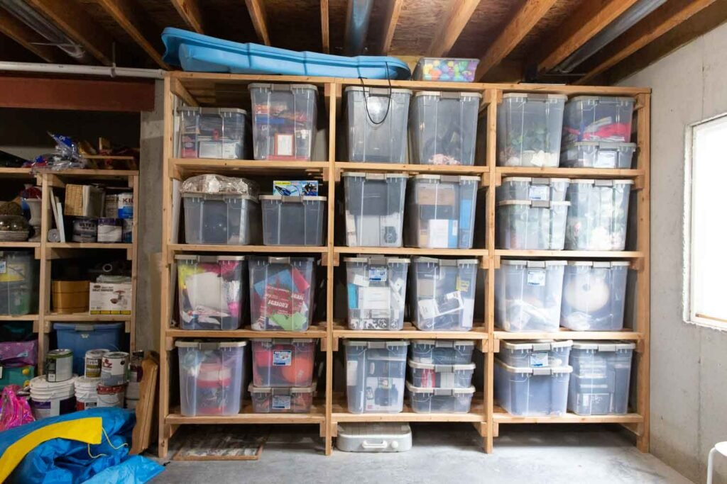 basement shelving with 2x4s