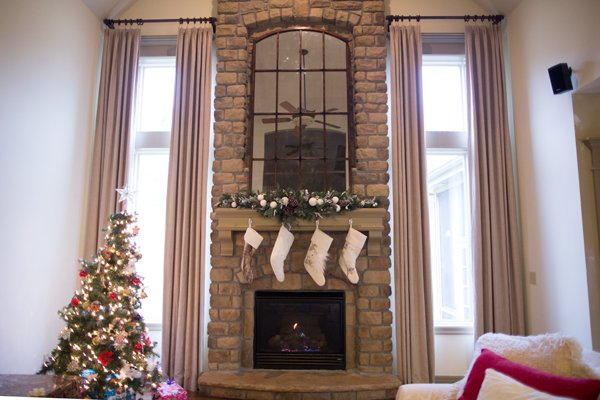 Two Story Mantel and Curtains